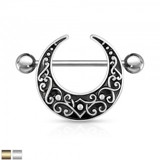 Nipple bar piercing with crescent shaped filigree shield