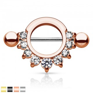9 Crystal nipple bar with surrounding ring