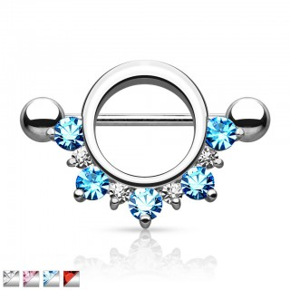 Nipple piercing with circle and crystals