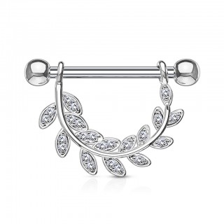 Nipple ring with clear crystals on hanging leafs - Silver