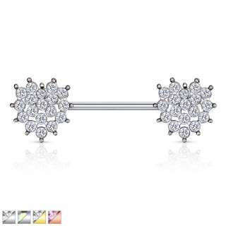 Nipple bar with heart of coloured crystals