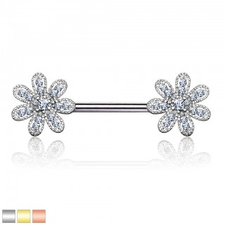 Nipple bar with flowers of crystals
