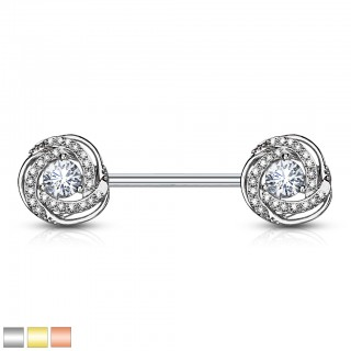 Nipple bar with coloured rose blossom and crystal