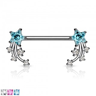 Coloured nipple barbell with coloured shooting stars