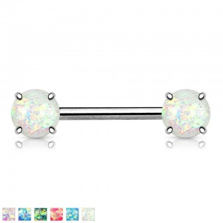 Nipple piercing with prong set opal stone
