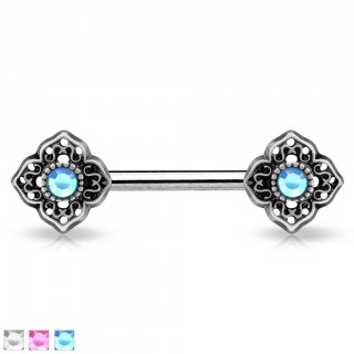Vintage nipple bar with flowery tribal and coloured crystals