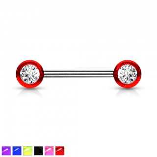 Nipple bar with acrylic balls and gems