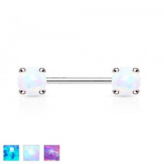 Encased opal front facing silver nipple bar piercing