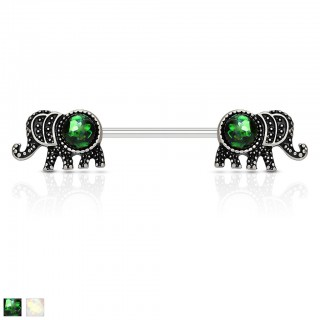 Antique silver nipple piercing with elephants and opal stone