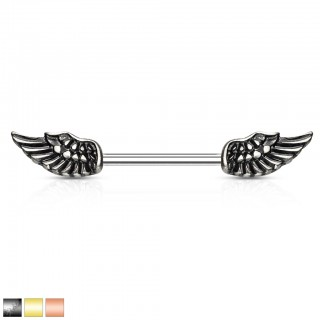 Nipple bar with coloured angel wings on both sides
