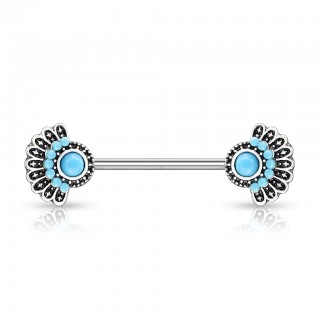 Turquoise set tribal fan adorned nipple barbell