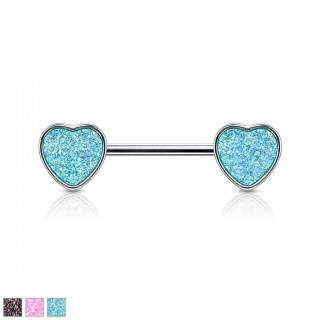Druzy stone set heart ended nipple bar piercing