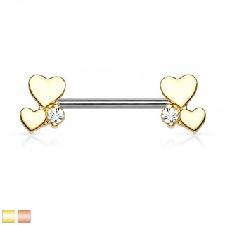 Nipple bar piercing with cluster of cute coloured hearts