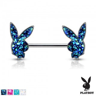 Druzy stone filled playboy bunny nipple bar