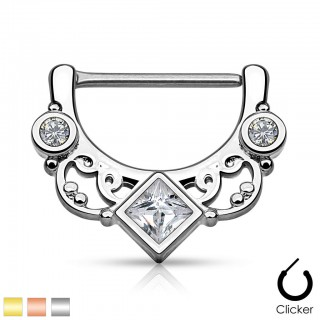 Nipple clicker with squared crystal and swirly lines