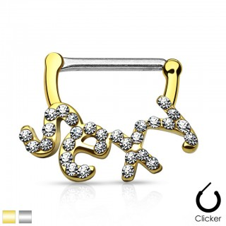 Nipple piercing clicker with crystalised SEXY