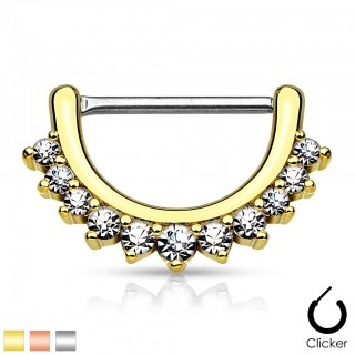 Nipple piercing clicker with line of gems