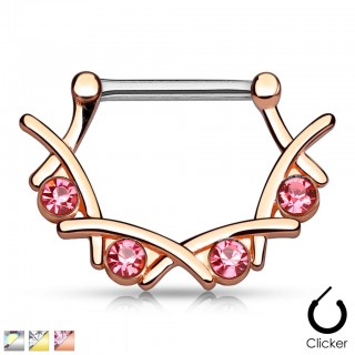Nipple piercing clicker with four coloured gems