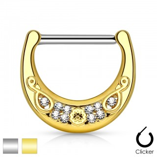 Nipple clicker with filigrane gold plated shield