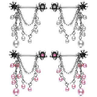 Set of 2 Nipple bars with chains and pearl beads