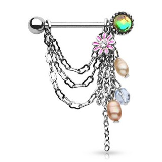 Pair of nipple piercings with chains and flower