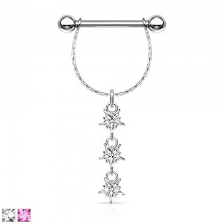 Steel nipple jewelry with three dangling star-shaped gems