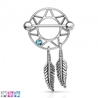 Nipple piercing shield with ornamental feathered dream catcher