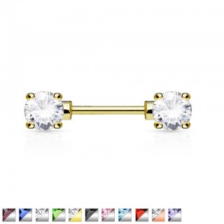 Nipple bar with double front facing gemstones
