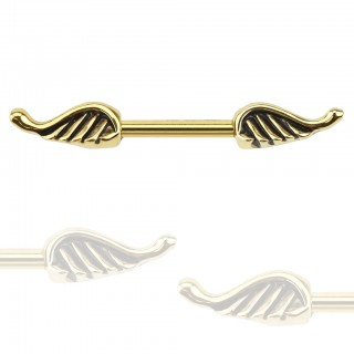 Gold plated nipple bar with angel wings