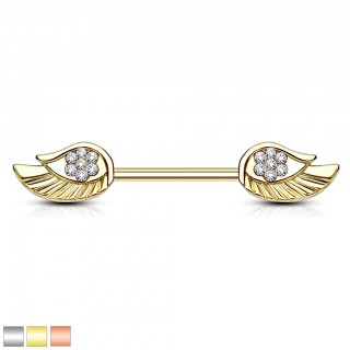 Nipple bar with angel wings and crystals