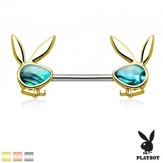 Nipple piercing with Abalone Playboy Bunny