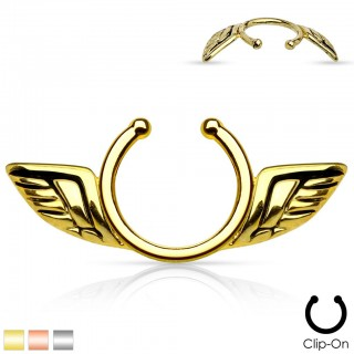 Angel wings clip on ring