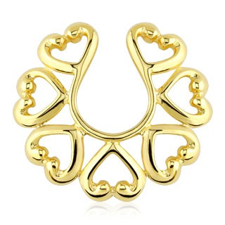 Gold plated clip on nipple ring with hearts