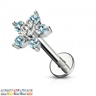 Double tiered floral design crystalised labret stud
