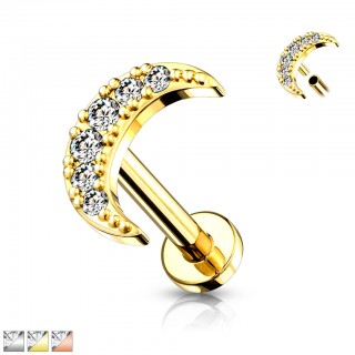 Internally Threaded Labret with crystal paved moon top