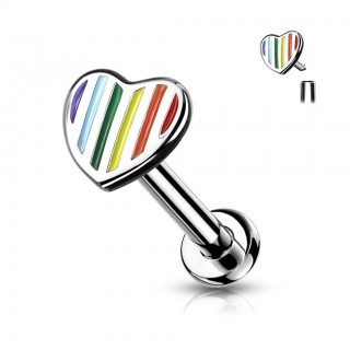 Internally Threaded Labret with Heart top and rainbow stripes