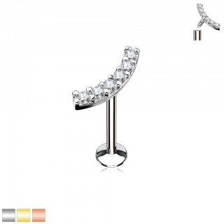 Labret with curved line of shiny gemstones