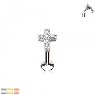 Labret with top of cross and clear gems