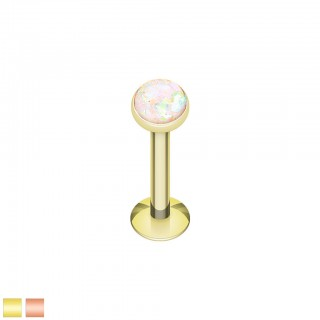 Gold coloured labret with coloured glitter opal stone