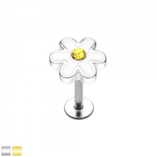 Coloured labret with cute daisy top and yellow crystal