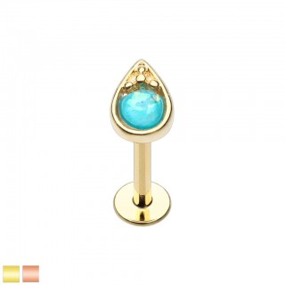 Coloured labret with tear drop top and opal stone