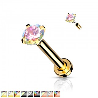 Coloured Internally Threaded Labret with prong set crystal