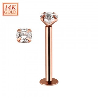 14 kt. rose gold labret with clear crystal