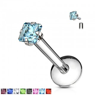 Internally threaded labret piercing with flat square crystal