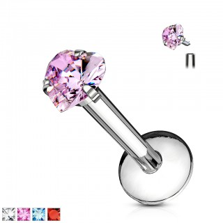 Steel labret with crystal heart in different colours