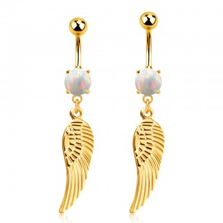 Gold belly bar with opal stone and dangling feather