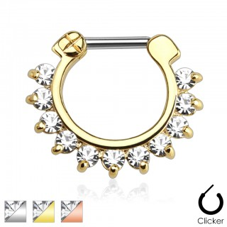 Coloured septum clicker with clear cubic zirconia gems