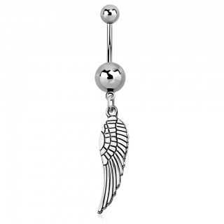 Belly bar with dangling eagle wing