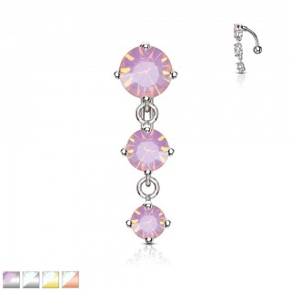 Reversed belly bar with three coloured crystal stones