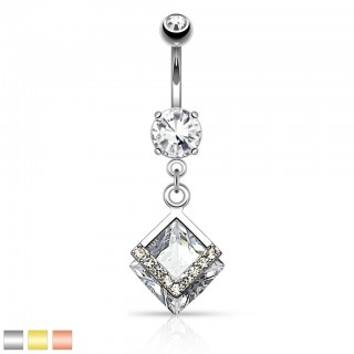 Belly button bar with dangling crystal in square